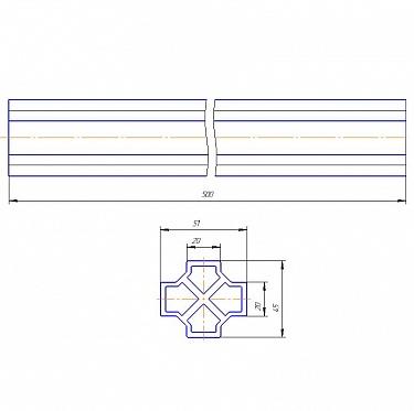 Соединитель несущего профиля для сдвижных ворот L=500мм
