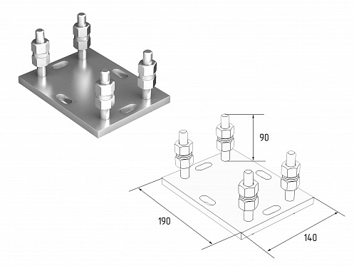 Подставка регулируемая роликовой опоры для балок 71х60х3,5