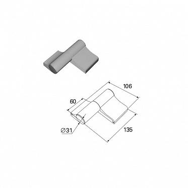 Петля двухсекционная серебристая (RAL9006) алюминиевая